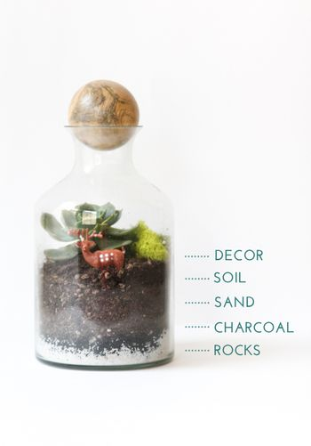 テラリウムの構造と、準備するものをチェック。  ■ガラス瓶 (ジャムの空瓶や100均のガラス瓶など身近なものでOK) ■土台 ・砂利 ・炭(木炭または竹炭) ・砂 ・土 ■飾るもの ・苔 ・植物 ・オーナメント etc ■道具 ・スプーン・じょうご(土を瓶に注ぎ入れるため) ・ピンセット・箸(植物やオーナメントを配置するため) ・ハサミなど