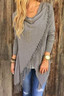 Cowl Neck Fringed Overlap Fall Top GRAY: Blouses | ZAFUL