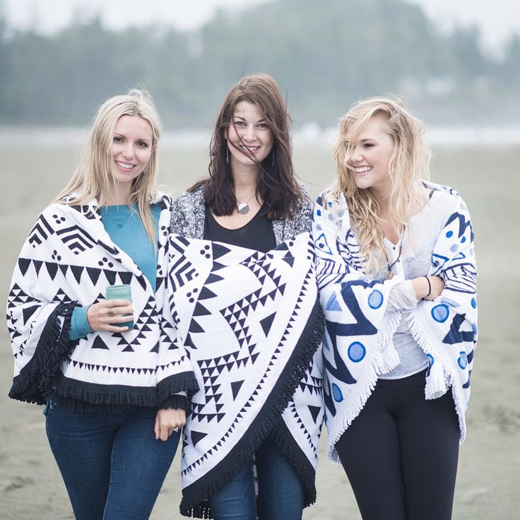Chesterman Beach - Good friends are like stars, you don't always see them but you know they're always. Some close friends of Tofino Towel enjoy some girl time at Chesterman Beach.