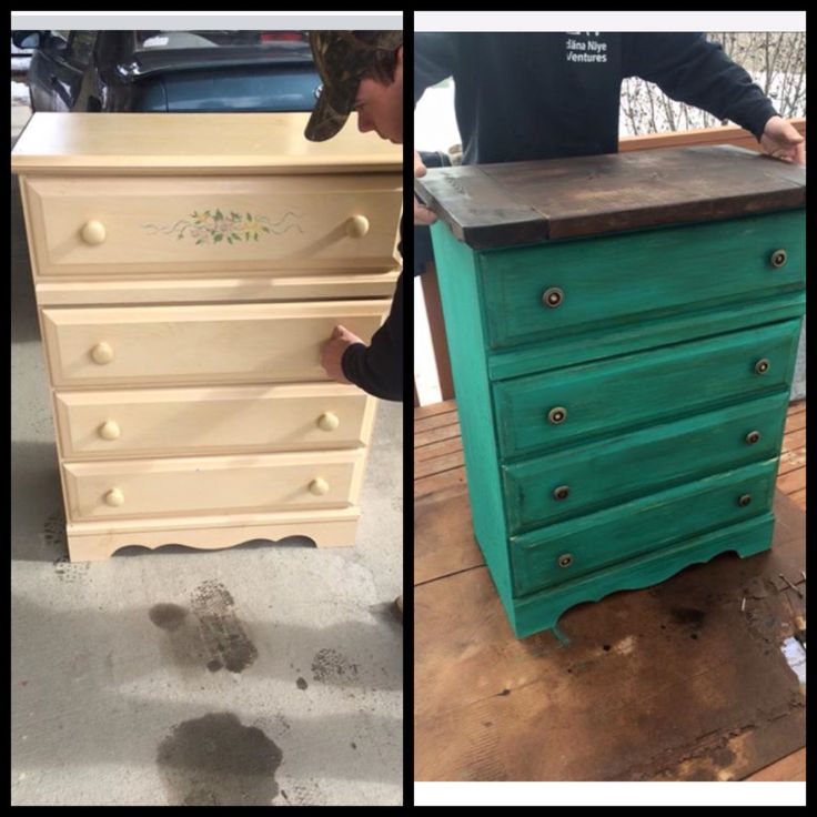 Diy Teal Dresser from cheap particle board