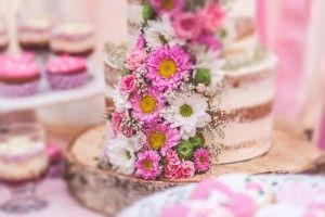 semi-naked cake flower, wedding sweet table