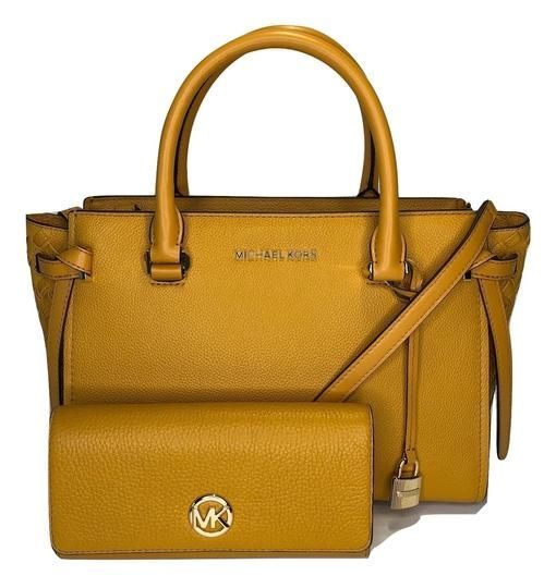 794fd370c12a Save big on the Michael Kors Cassie Bundled with Fulton Flap Wallet  Marigold Leather Satchel! This satchel is a top 10 member favorite on  Tradesy.