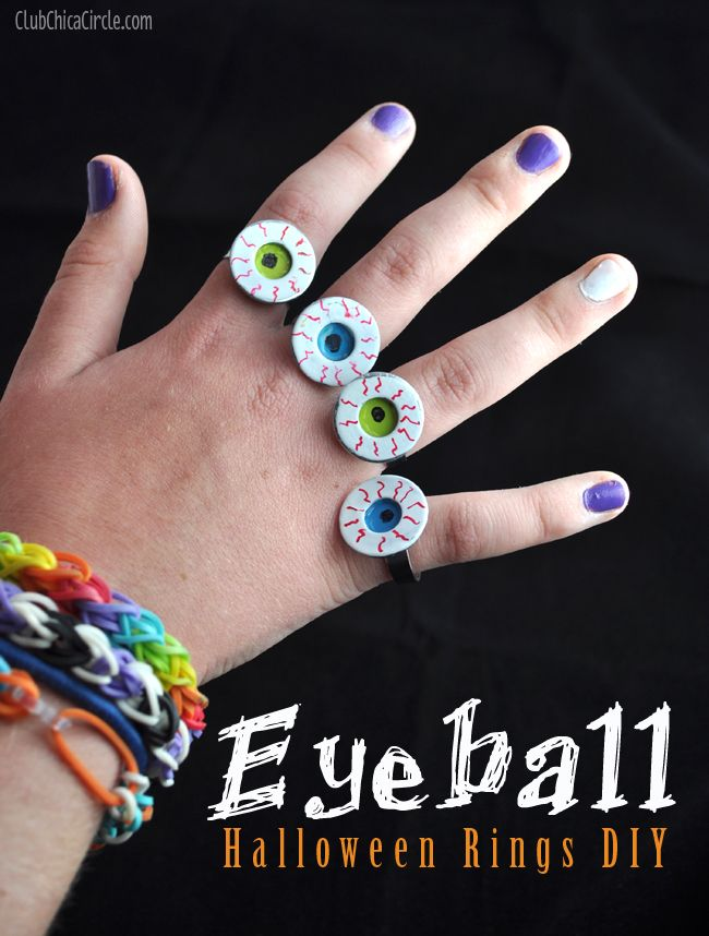 Homemade halloween eyeball ring craft idea paint metal for Craft paint for metal