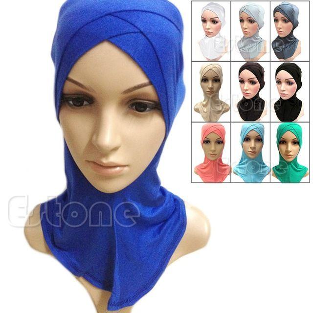 Envío Libre Algodón Musulmán Hijab Interno Completo Cover Cap Head Wear Sombrero Underscarf Islámico Colores