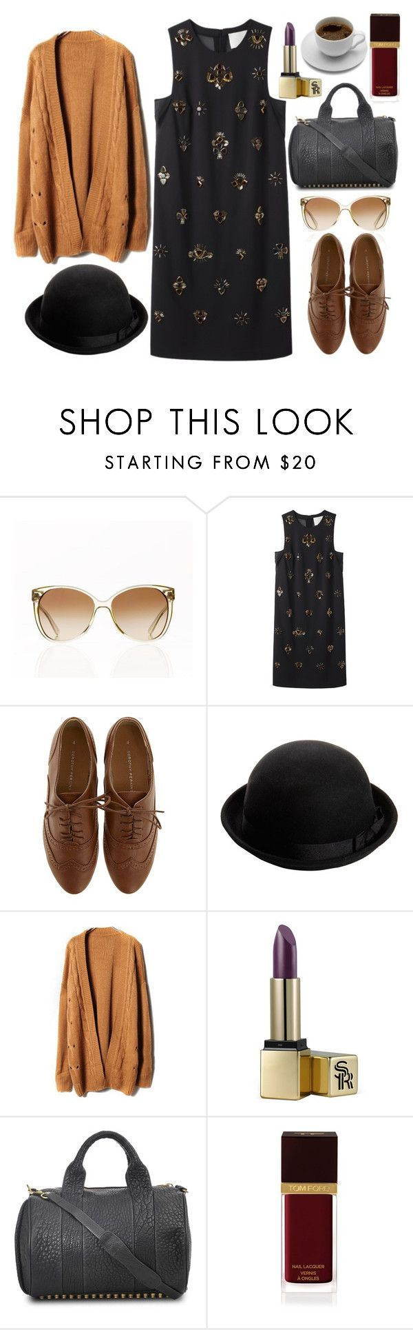 """I dipped my cigarette and rode the bus."" by elizabethcarter ❤ liked on Polyvore featuring Tory Burch, 3.1 Phillip Lim, Dorothy Perkins, Boohoo, Sunday Riley, Alexander Wang, Tom Ford, oxford shoes, oversized cardigans and bowler hats"