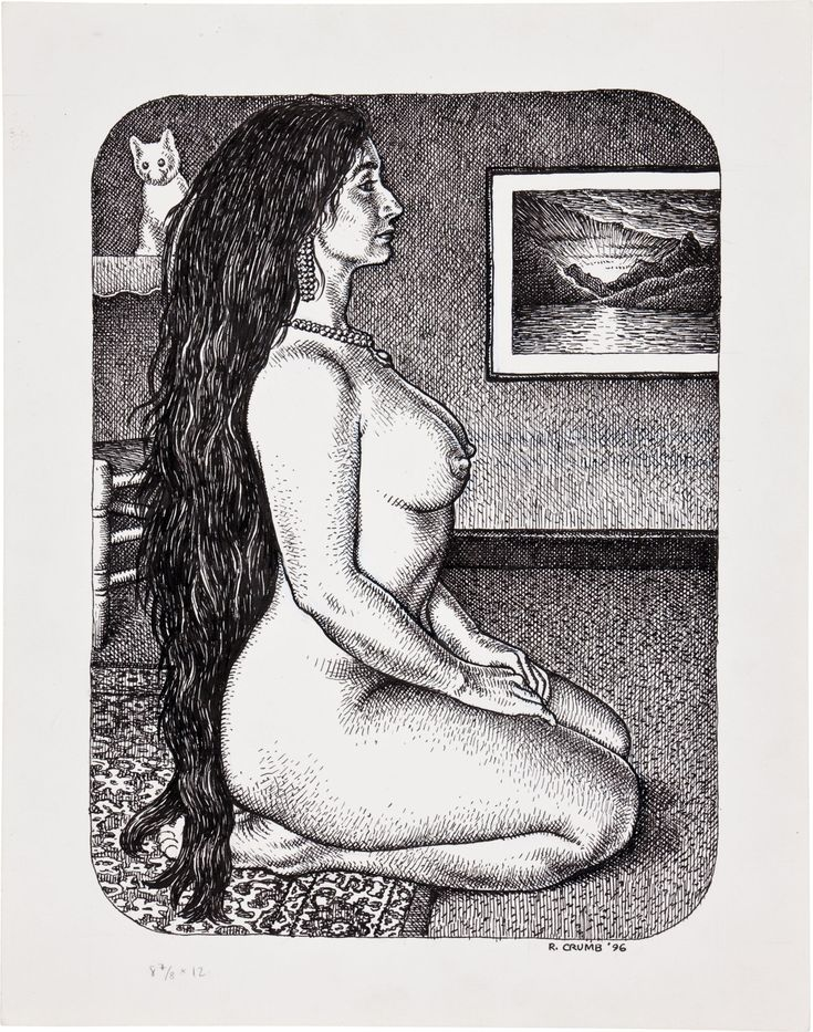 Robert Crumb, Original pin-up art  from Art & Beauty Magazine #1, published by Fantagraphics, 1996.