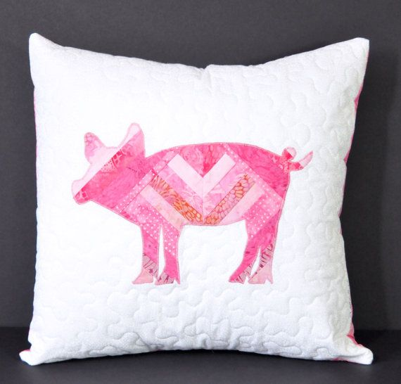 Pig piglet pink pig handmade pillow cover gift ideas by KnKDesigns