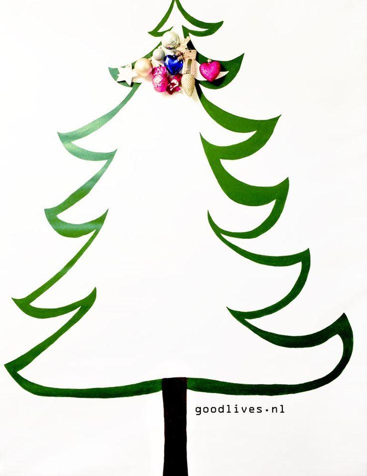Alternatieve kerstboom op doek met eerste kerstballen, #christmas #kerst