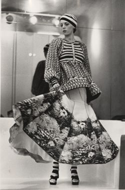 This knitted jacket ensemble is from Bill Gibb's first solo collection at the Oriental Club in London in 1972.