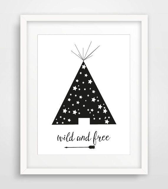 Printable Nursery Art, 8x10 Scandinavian Print, wild and free, Black White Print, Monochrome Poster, Kids Room wall art, instant download