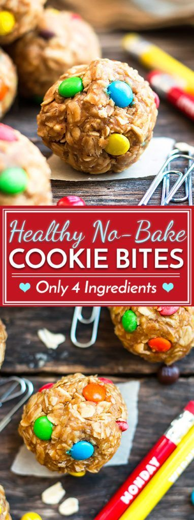 4-Ingredient Healthy No-Bake Monster Cookie Bites   A recipe for healthy cookie bites that is gluten-free, vegan and only take 10 minutes to make. These tiny bites of bliss make a great kid-friendly afternoon snack or dessert.