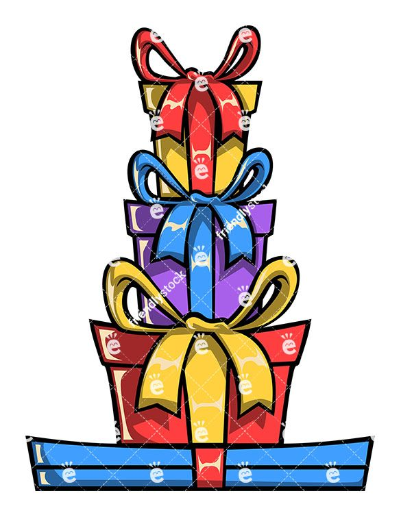Stacked Gift Boxes Cartoon Vector Clipart Friendlystock In 2020 Gift Drawing Book Art Clip Art