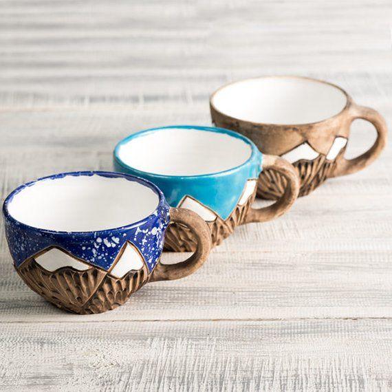 Ceramic coffee mountain mug, 330 ml, Glazed Handmade pottery