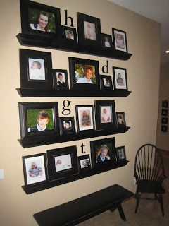 picture wall shelf for each child: baby picture and current picture mixed with other favorites!