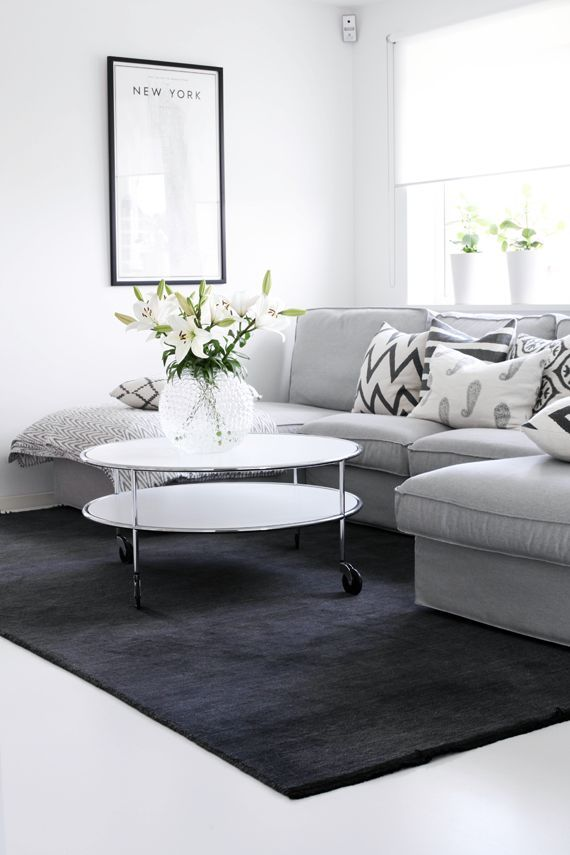 Soft grey sofa and dark grey rug living room my white for Black grey living room