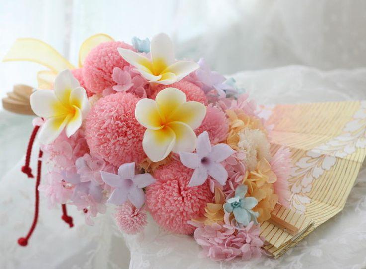 ブーケ プリザーブド 和装用の扇ブーケ 都ホテル様へ と 宝くじにあたらなかった話 : 一会 ウエディングの花