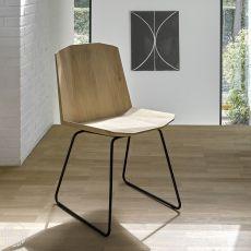 Facette - Stuhl Universo Positivo aus Metall, mit Sitz aus Holz