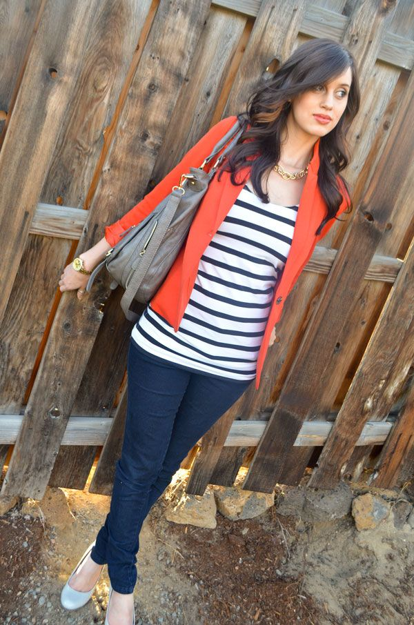 I like the bright orange with dark blue. CarahAmelie - Outfit Ideas