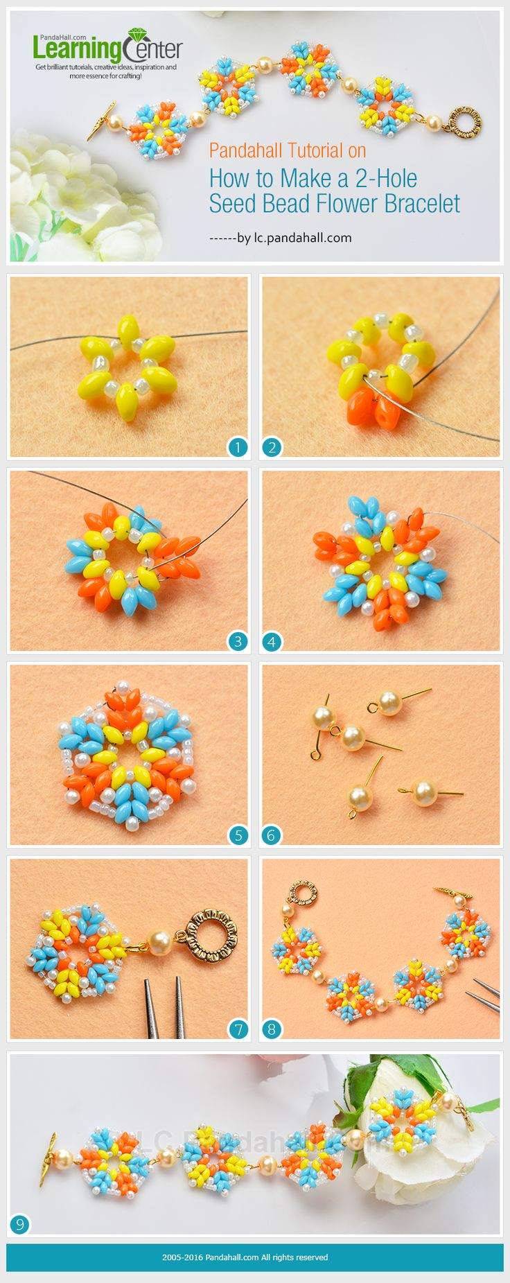 Tutorial on How to Make a 2-Hole Seed Bead Flower Bracelet from LC.Pandahall.com