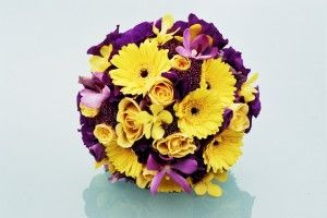 Purple And Yellow Wedding Flowers