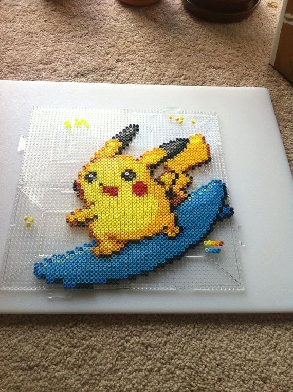 Pokemon Surfing Pikachu Perler Bead Sprite Art by SDKD on Etsy, $18.00
