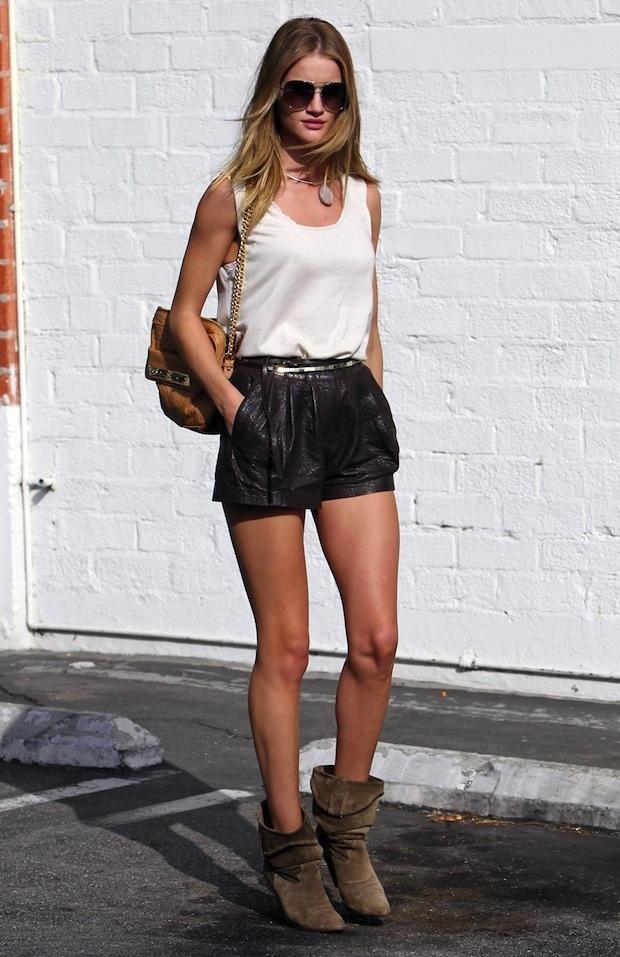 rosie huntington whitely leather shorts #street #style