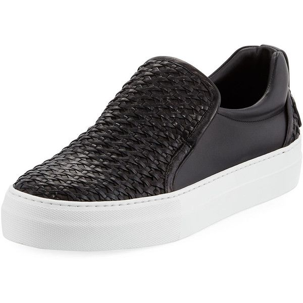 Buscemi 40mm Men's Woven Leather Slip-On Sneaker ($750) ❤ liked on Polyvore featuring men's fashion, men's shoes, men's sneakers, black, mens black leather sneakers, buscemi mens shoes, mens black shoes, mens platform sneakers and mens black slip on sneakers