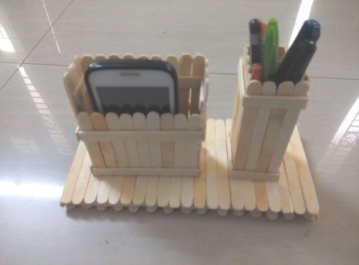 DIY: How to make mobile phone and pen stand using ice cream sticks/ pop...