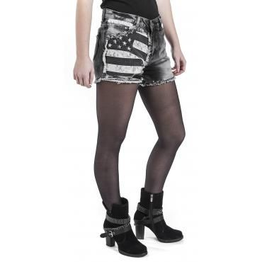 """- 5-pocket shorts - destroyed effects - vintage style - patches  The black """"Flag Hot Pants"""" by Rock Rebel by EMP are quite impressive. The right leg features a print of the American flag with destroyed effects - a remarkable design. The slim fit makes it the perfect pair of shorts."""
