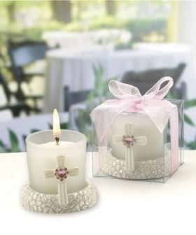Gl Candleholder Featuring A Cross With Pink Heart Shaped Rhinestone Whole Favors
