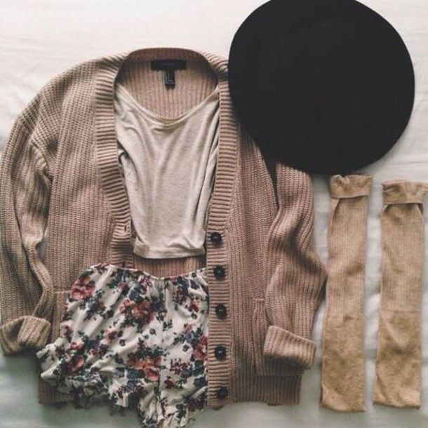cardigan pale pale grunge winter outfits outfit hat shorts top