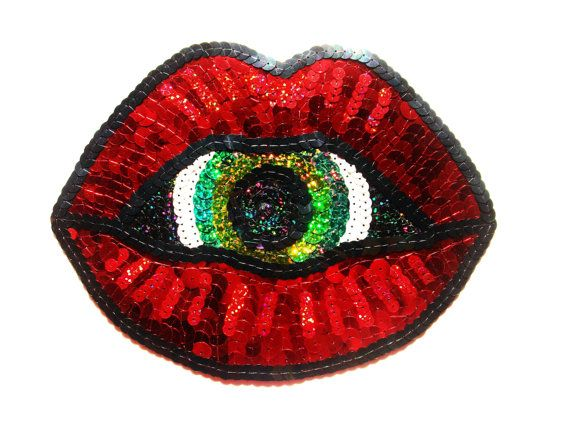 Holographic Blood Red Lips Sequin Patch by KingSophiesWorld, £34.99