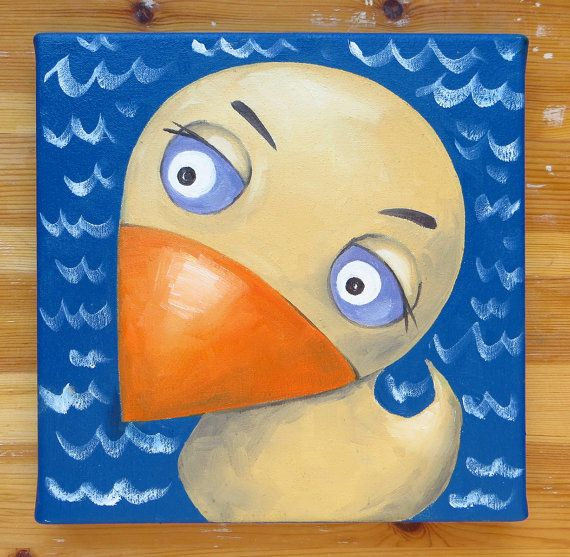 Mrs Duck Original Art Birds Animals Oil on canvas by MikiMayoShop