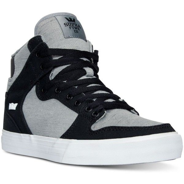 Supra Men's Vaider Casual Skate High Top Sneakers from Finish Line ($70) ❤ liked on Polyvore featuring men's fashion, men's shoes, men's sneakers, mens high tops, mens hi tops, mens high top shoes, mens shoes and mens high top sneakers