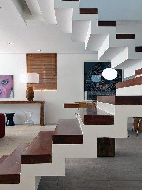 escada, alvenaria, branco, madeira