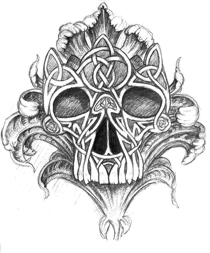 41 best celtic skeleton tattoo images on pinterest for Celtic skull tattoo