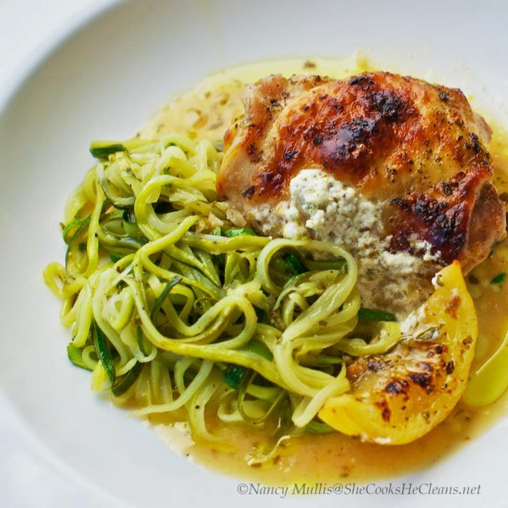 Lemon-Garlic Chicken with Goat Cheese and Zucchini Noodles