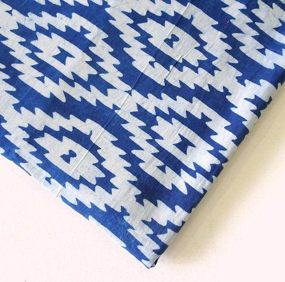 Aztec Fabric in Indigo dye, blue Indian block print cotton, Tribal Fabric, Geometric Fabric ,  Quilting Fabric,  Apparel Fabric