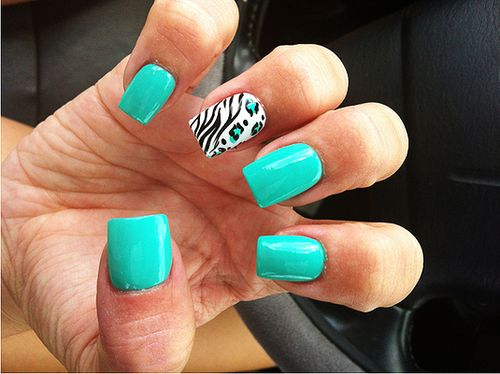 139 best nail designs helpful nail tips images on pinterest accent nail of half zebra and half leopard print turquoise nail art design prinsesfo Image collections