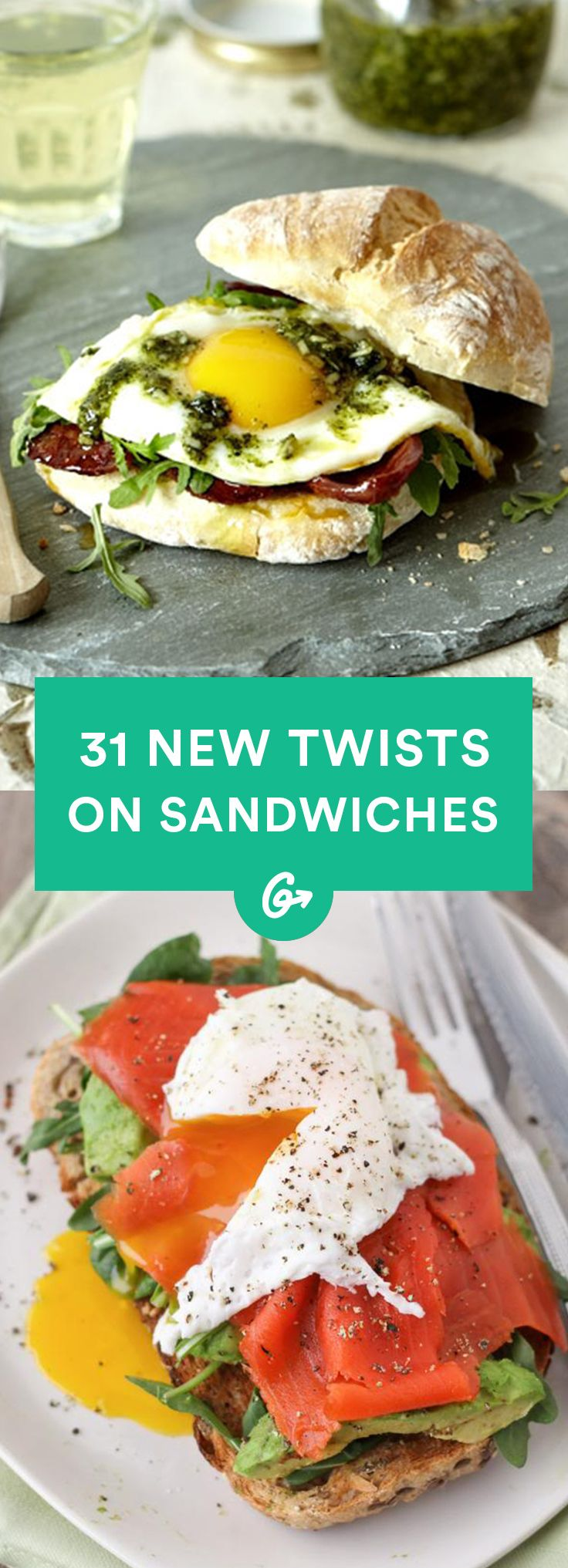 From collard wraps to gooey grilled cheese to breakfast and dessert versions, these healthy sandwiches will up your lunch game #recipes #healthy #sandwich http://greatist.com/eat/new-healthy-sandwich-recipes