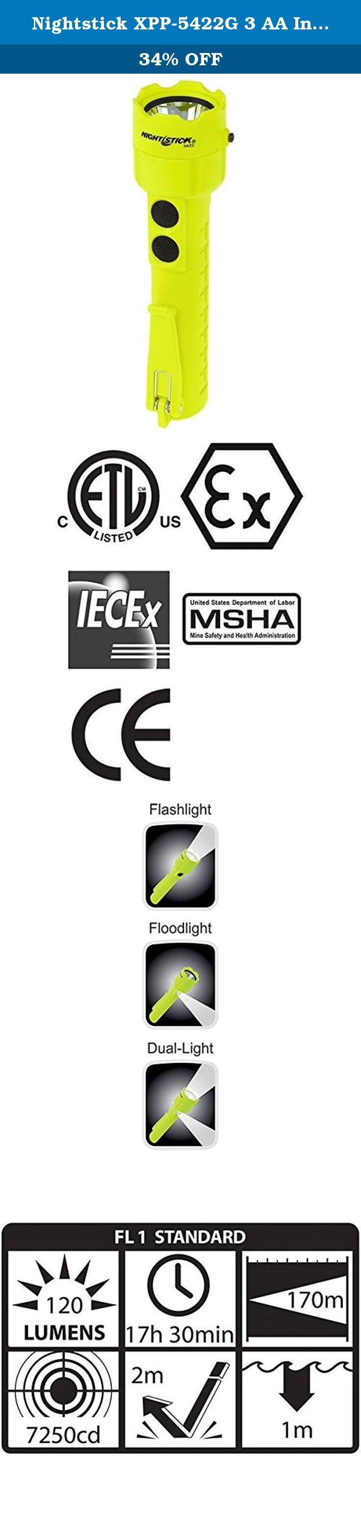 Nightstick XPP-5422G 3 AA Intrinsically Safe Permissible Dual-Light Flashlight, Green. This non-rechargeable dual-light is cETLus, ATEX, IECEx and MSHA listed Intrinsically Safe Permissible for use in both above and below ground hazardous locations where explosive gases and dusts may be present. It uses as CREE LED rated at 120 lumens that works in conjunction with a high-efficiency deep parabolic reflector to create a usable flashlight beam rated at 170 meters. A 120 lumens unfocused...