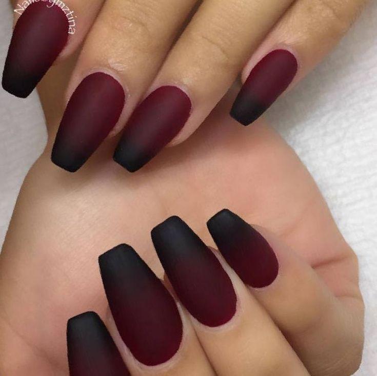 Burgundy Nails Coffin Matte