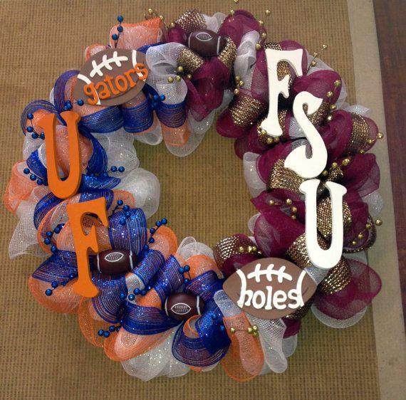 Sports Theme Wreath  A house divided FSU vs UF by mahyahyvee, $65.00