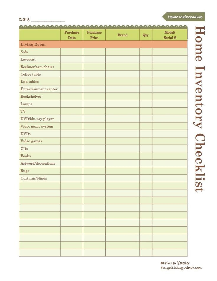Use This Free Printable to Create an Inventory of Your Home: Free Home Inventory List