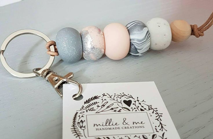 Keyring, pink silver and granite keyring, clay keyring, clay accessories, polymer clay, leather keyring, bag tag, beaded keyring, by MillieandmeByEMILY on Etsy https://www.etsy.com/nz/listing/512877118/keyring-pink-silver-and-granite-keyring
