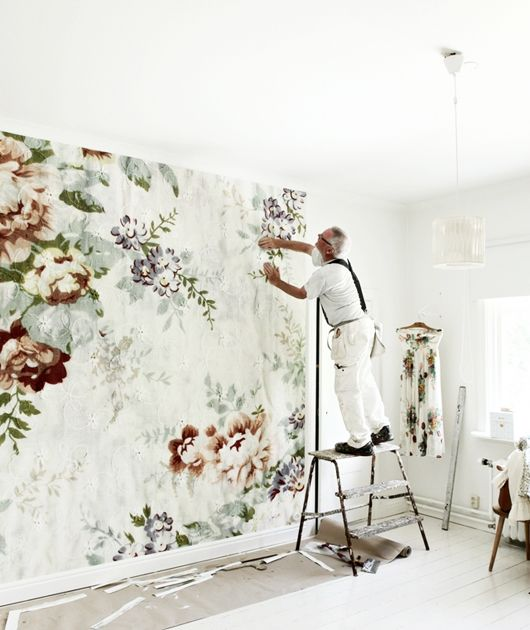 Oversized Floral Print Wall Paper Mural | Interior Design                                                                                                                                                                                 More