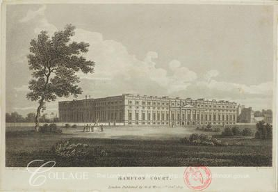 South east view of Hampton Court Palace at Hampton in Middlesex; Hampton is now in the London borough of Richmond upon Thames.    1809