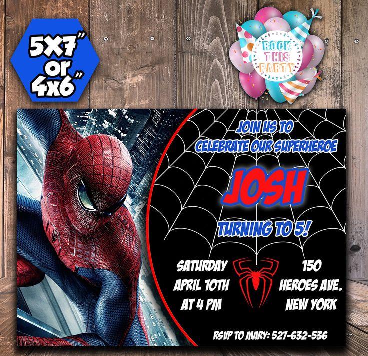SPIDERMAN party invites,SPIDERMAN invitations,digital party invitation, Customized invitation,party supplies,printable birthday invitations, di RockThisParty su Etsy