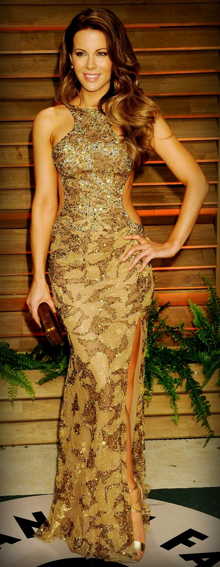Kate Beckinsale is wearing an Elie Saab dress, Brian Atwood shoes, a Rauwolf clutch, and H. Stern earrings.
