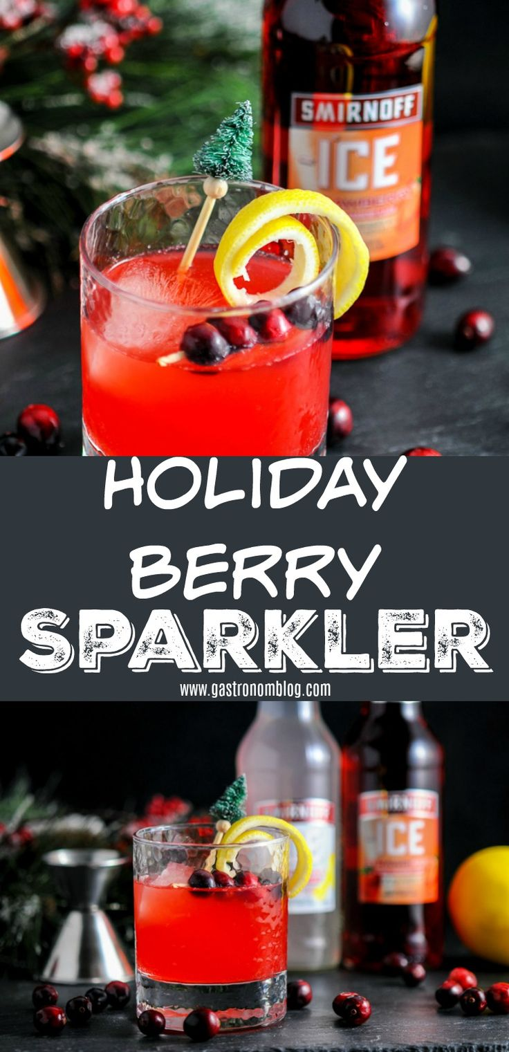 Holiday Berry Sparkler cocktail @smirnoff @sponsored Original and Strawberry Smirnoff Ice, cranberry simple syrup, apple cider and triple sec #apple #strawberry #orange #cocktail #lemons